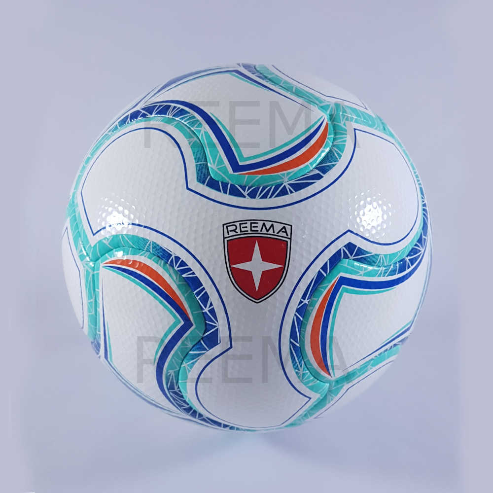 Alpha | white soccer ball with a colorful drawing cyan and navy color
