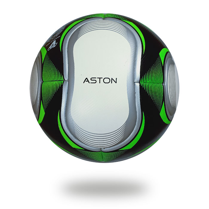 Aston | black football printed with a silver oval shape and highlighted with green color