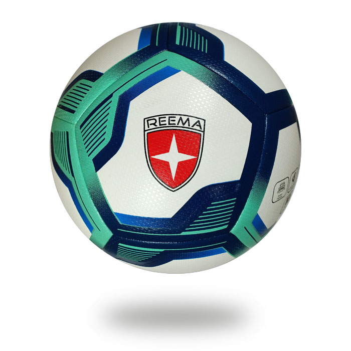 Brio 3D | football image on a white background  which cover is white and Turquoise dark blue pentagon draw on it