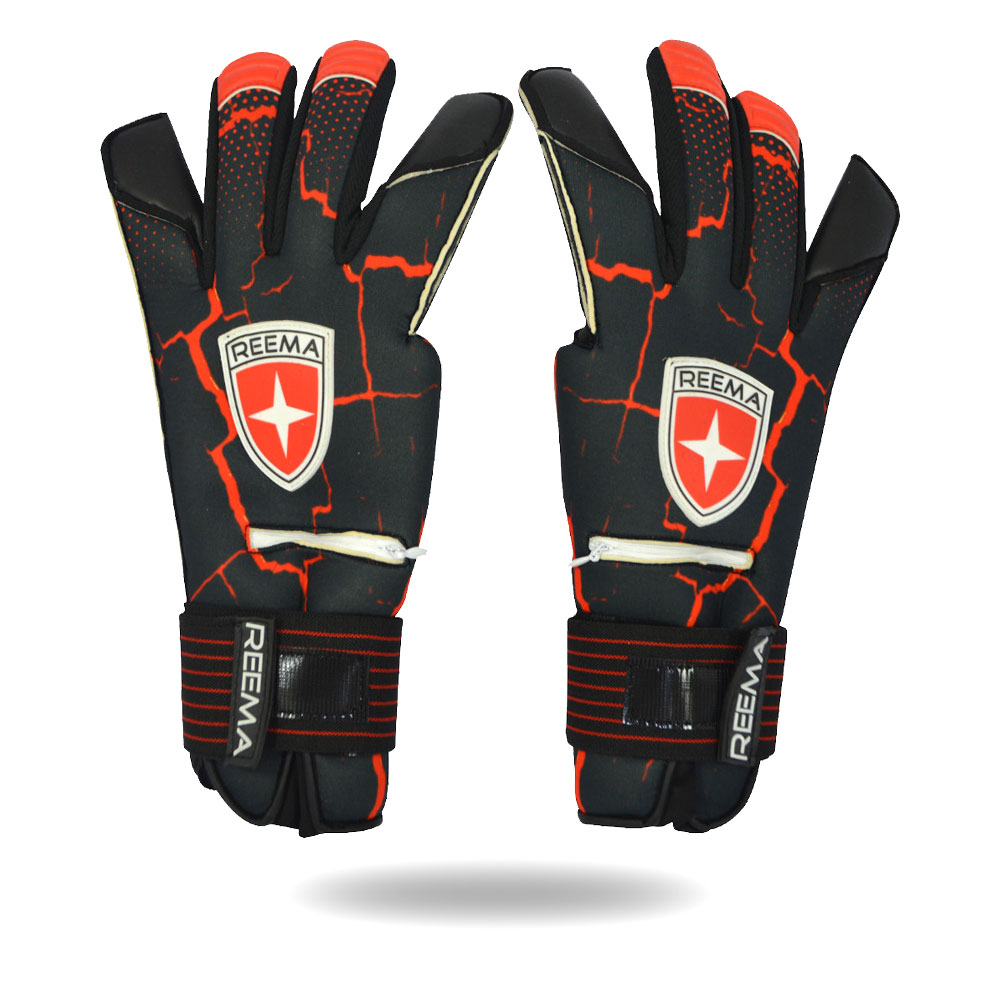 Buckler | Removable finger save for impact protection Machine stitched Fire red and black gloves
