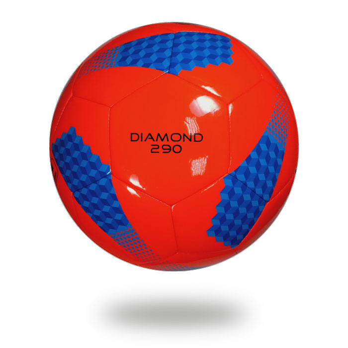 Diamond 290   Hot Red cover of football printed with blue and navy blue cylinder