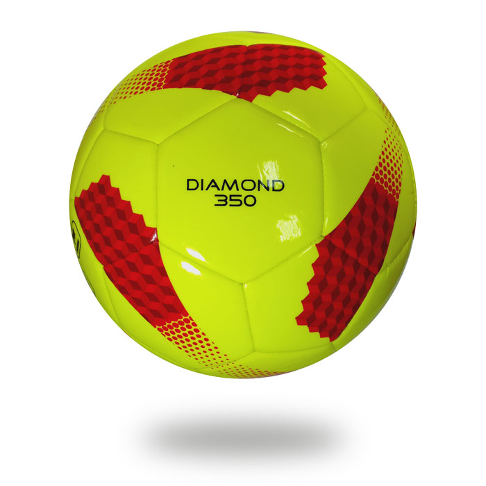 Diamond 350 | White football which cover is green-yellow printed with brown chocolate brown cubes