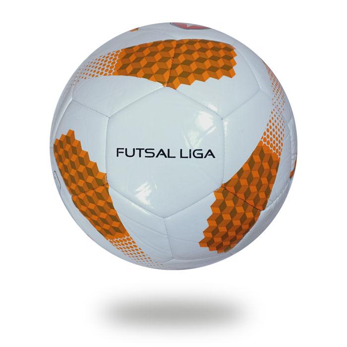 Futsal Liga | football white panels chocolate and orange ladder styles printed