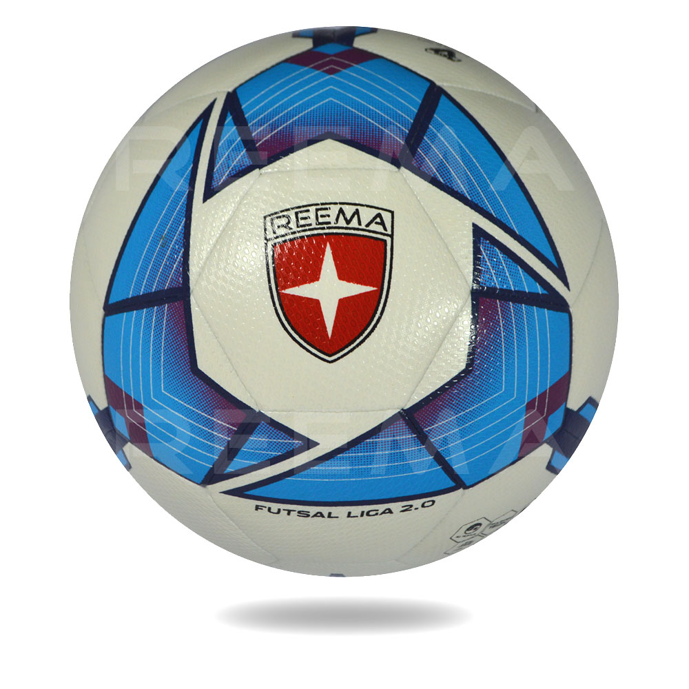 Futsal Liga 2020 | 32 panel white PU cover soccer ball printed with blue design