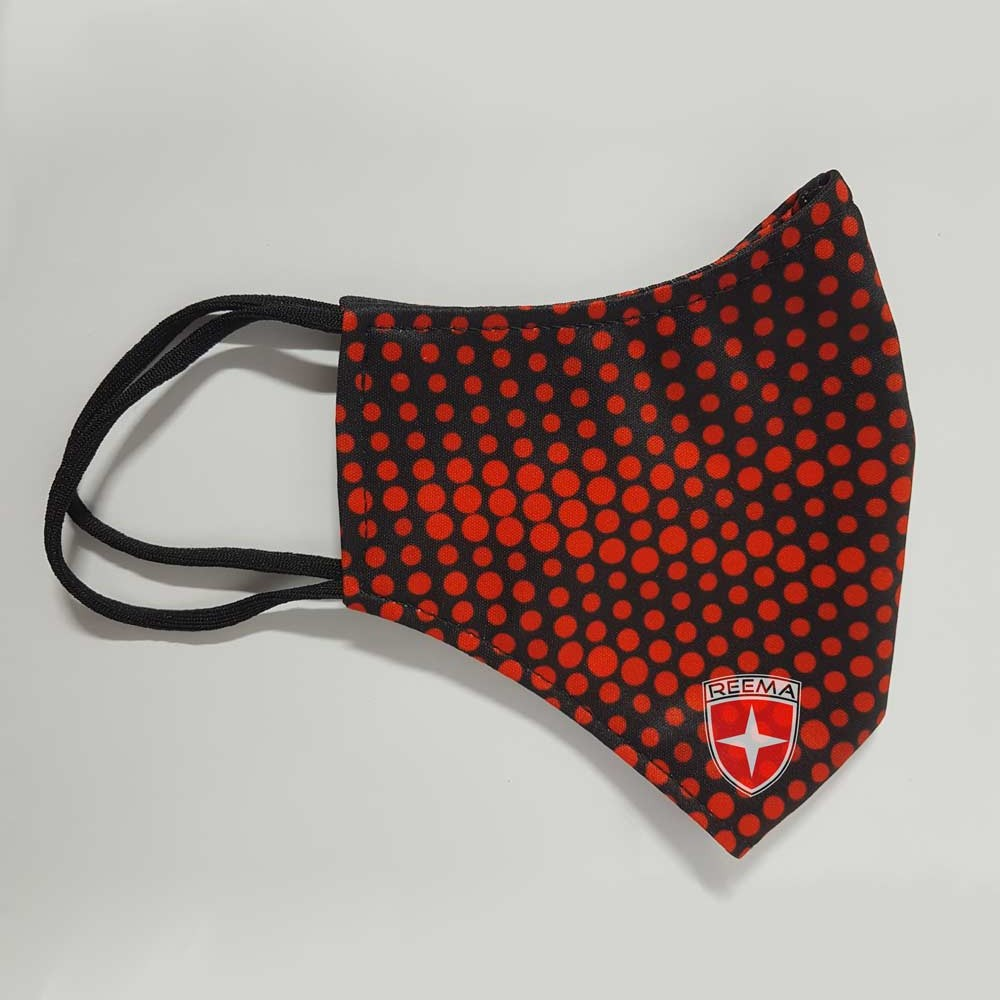 Halftone Face Mask | Black & Red Circle Design Face Cover