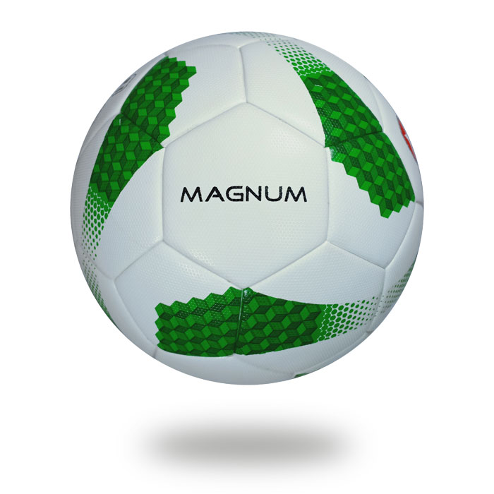 Magnum | A Football picture with having a white upper cover that's printed green color draw cube