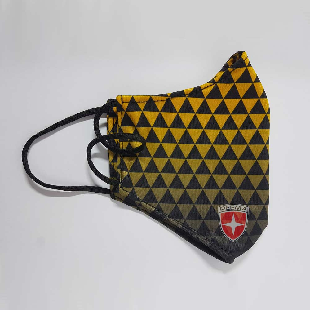 Pyramid Face Mask | Black & Gold Triangle Design Face Cover