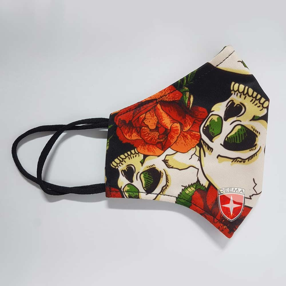 Red Rose Face Mask | Red Flowers In Black Sublimated Face Cover