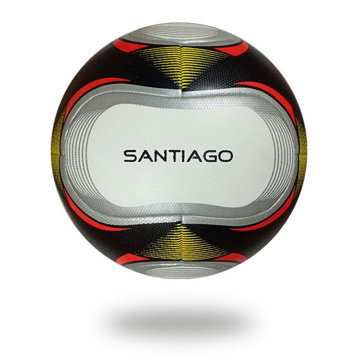 Santiago | white football printed with a silver oval shape and highlighted with red color