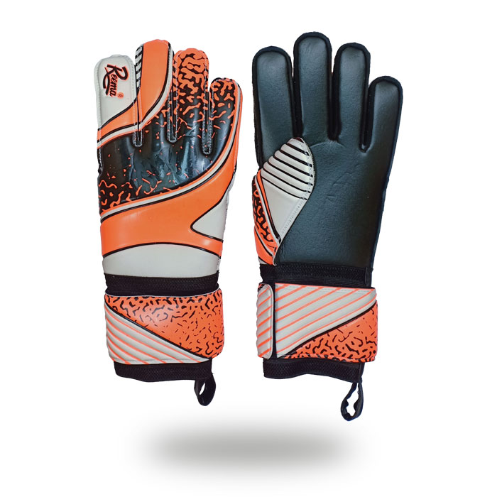 Sentinal Grip | Orange and black machine stitched goalkeeper gloves exporters reematec