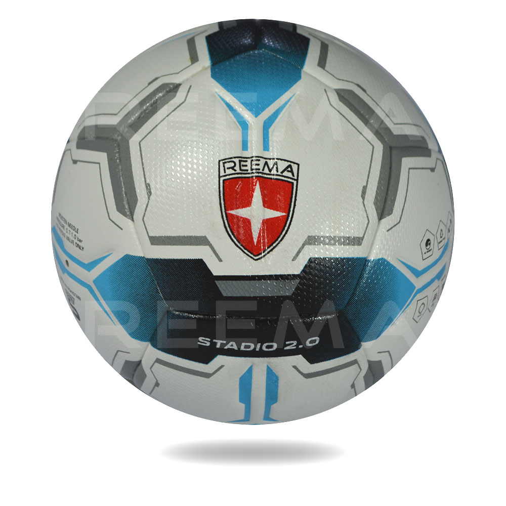 Stadio 2020 | the upper sheet of football is white and printed with blue black double sided arrow design