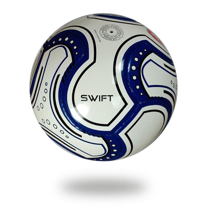 Swift   White navy blue match soccer ball
