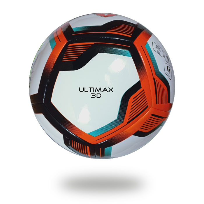 Ultimax 3D | football image on a white background  which cover is white and hot red and black pentagon draw on it