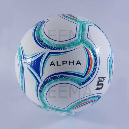 Alpha | best PU top competition soccer ball cyan and red color