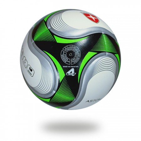 Aston | the great color combination used for printed a soccer ball white green and silver