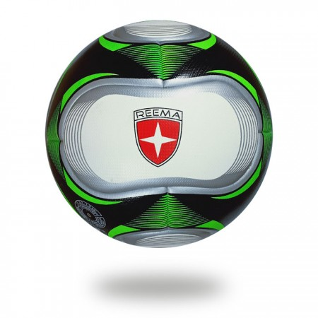 Aston | football upper casing is white and printed with silver draw green triangle