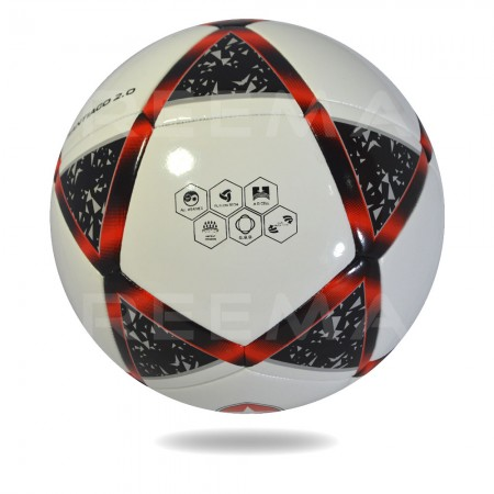 Atome 2020 || 32 panels white PU design star black and red color on soccer ball