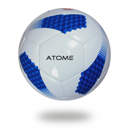Atome | Medium blue cube on white cover of soccer ball