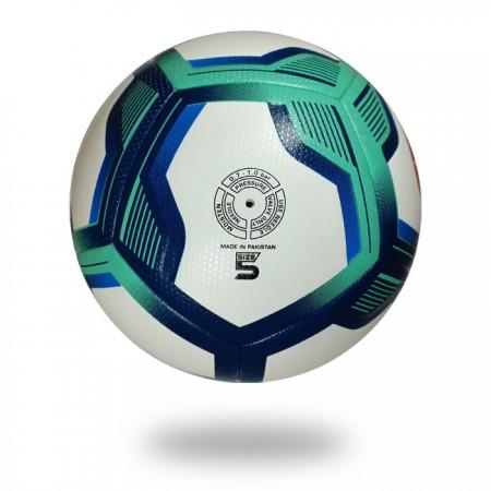 Brio 3D | Turquoise dark blue pentagon design on white PU Soccer ball