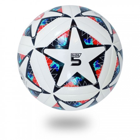 Dual Stitch || 12 panels white PU design star black color on soccer ball