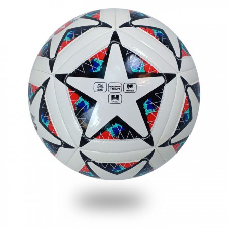 Dual Stitch | the best machine stitched white cover printed star black soccer ball