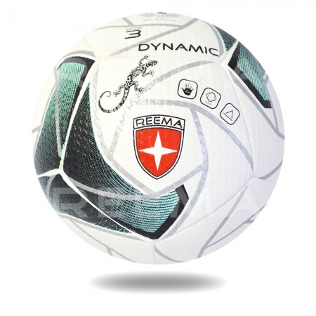 Dynamic 3D 2020 | white handball printed with sea green filling in silver design