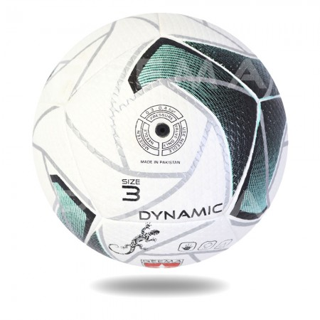 Dynamic 3D 2020 | Top Competition  white handball printed with sea green filling in silver design