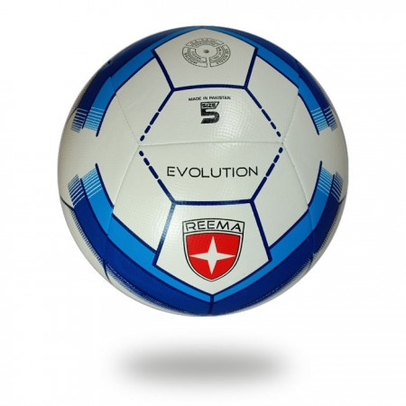 Evolution white cover football design with pentagon with midnight blue