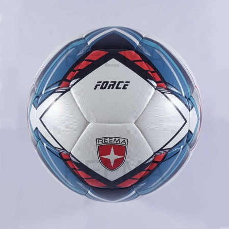 Force | Hand stitched soccer ball white background blue and red
