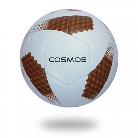 Futsal Cosmos | saddlebrown and sienna cube on white cover of soccer ball