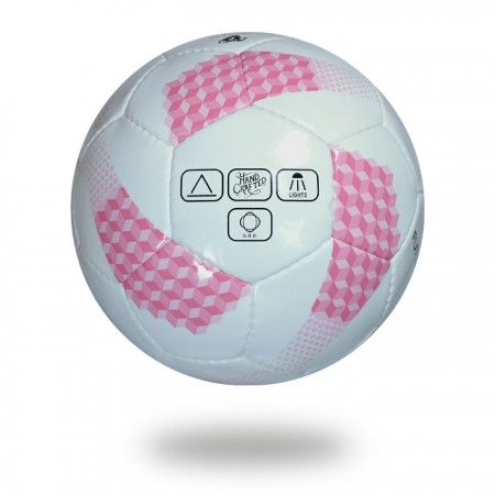 Futsal pro | white and pink hand sewn 32 panels soccer ball