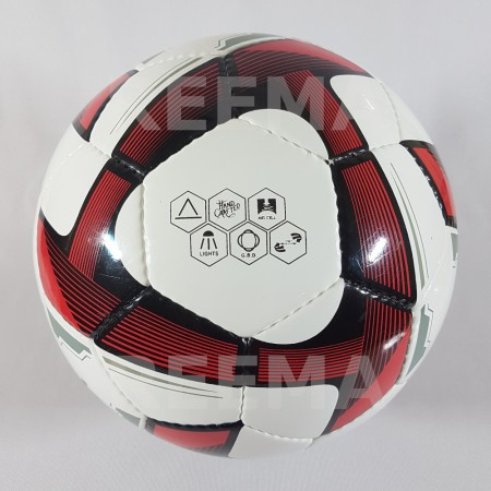 Futsal Professional | white and dark red  triangle design printed on 32 panels soccer ball