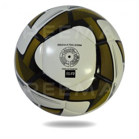 Futsal Samba 2020 | white PU and dark goldenrod triangle printed on soccer ball