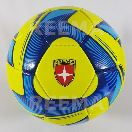 Futsal Spark | High quality shiny PU green/yellow with blue and dark blue printed futsal ball