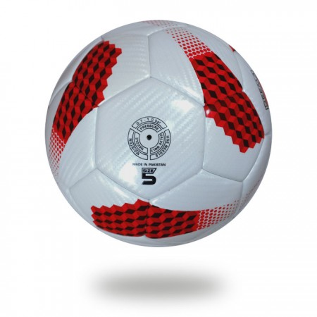 Galaxy | Red Cube made on white PU Material soccer ball
