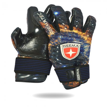 Galaxy | Blue gold and black goalkeeper gloves with white background
