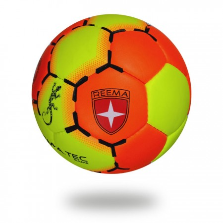 Game | Orange-Red and Green-Yellow Hand ball with white background