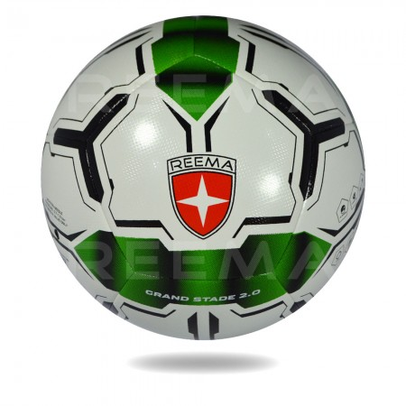 Grand Stand 2020 | seagreen  and black double sided arrow shape draw on white panels of the soccer ball