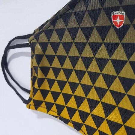 Pyramid Face Mask | Pakistan face mask Black & Gold Triangle Design