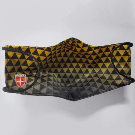 Pyramid Face Mask | white background Black & Gold Triangle Design face mask