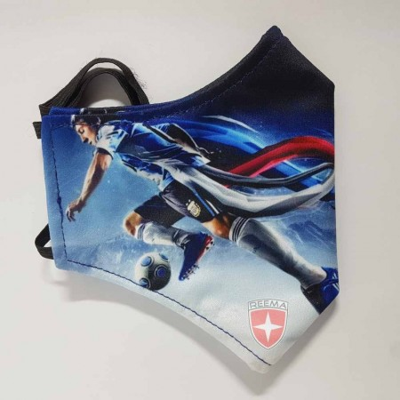 Soccer Face Mask | A boys printed on face mask with blue and black color