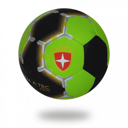 Softy | black Light green machine stitched handball