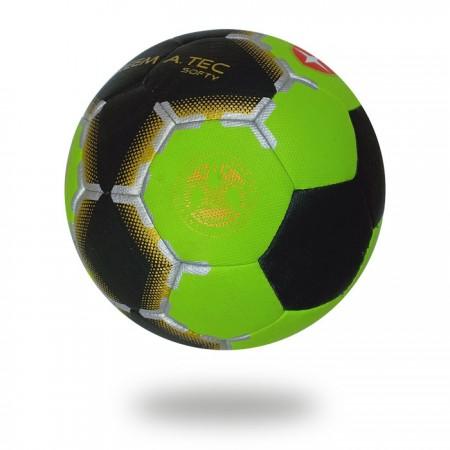 Softy | black green machine stitched handball for men and women