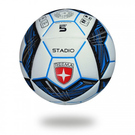 Stadio | blue and black polygon shape draw on white panels of the soccer ball