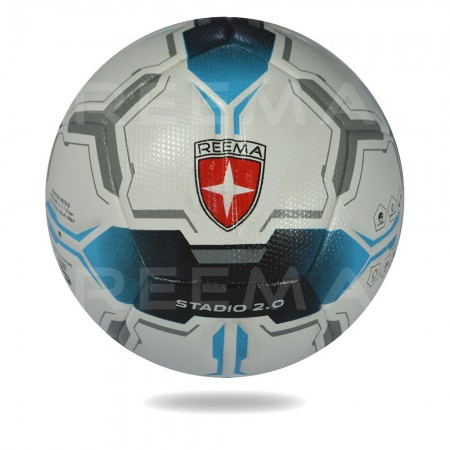 Stadio 2020 | blue and black double sided arrow shape draw on white panels of the soccer ball