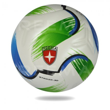 Striker 3D | white PU print Lightning green and blue on football