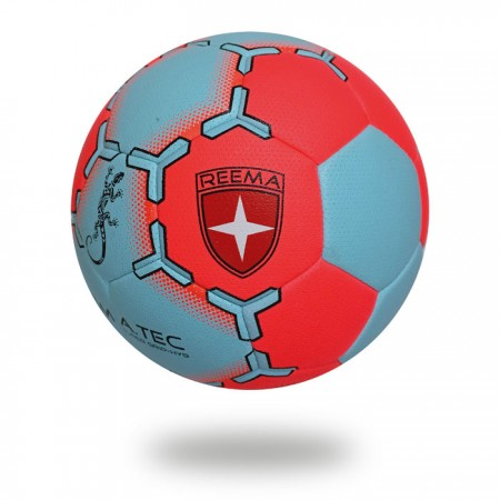 Super Grip HYB | cover of handball is red and light blue and printed with blue