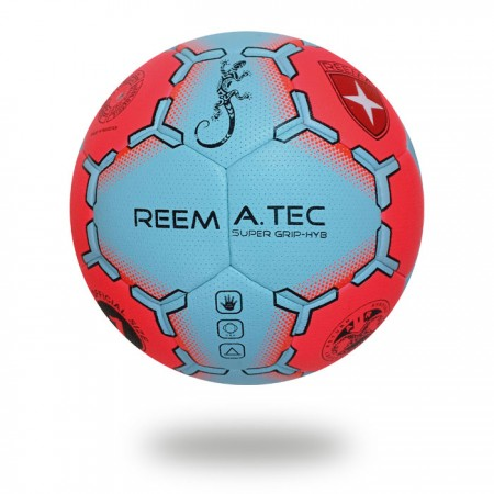Super Grip HYB | Red and light blue upper cover of handball printed with light blue design