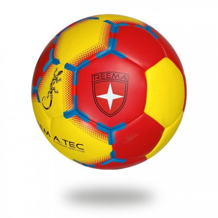 Supreme Grip HYB | cover of handball is red and yellow and printed with blue