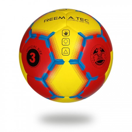 Supreme Grip HYB | Red and yellow upper cover of hand ball print with blue design